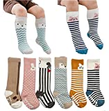 Toddler Socks, Non Skid Cotton Socks Baby Boys Girls Knee High Socks 6-Pairs (M (2-4 Years))