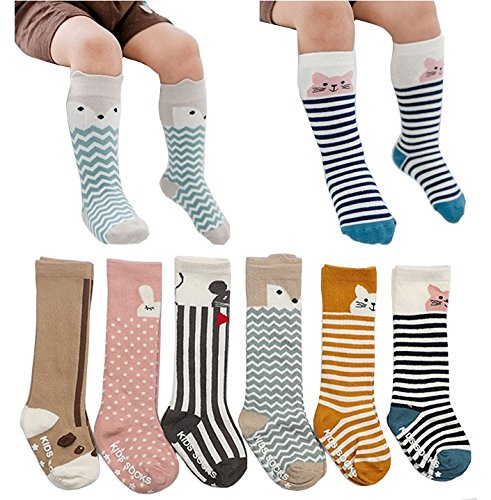 6 Pairs Toddler Socks, Kids Non Skid Knee High Cotton Socks for Baby Boys Girls...