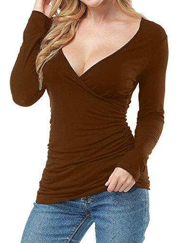 - Allegrace Women Open V Front Wrap Pleated Slim Top Tee Long Sleeve Ruched T Shirt Brown M