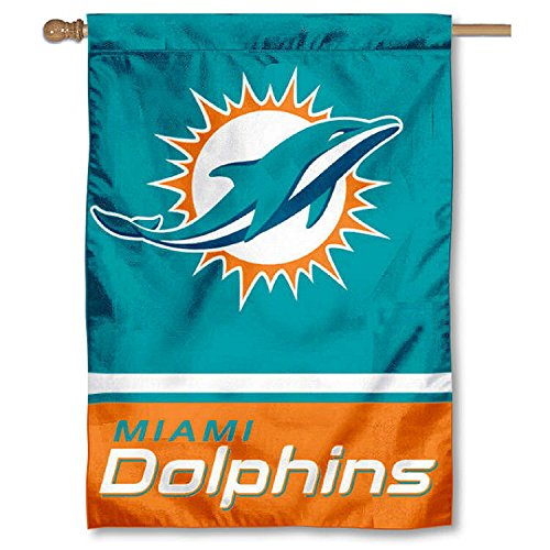 Dolphins Flag Miami (Miami Dolphins Two Sided House Flag)