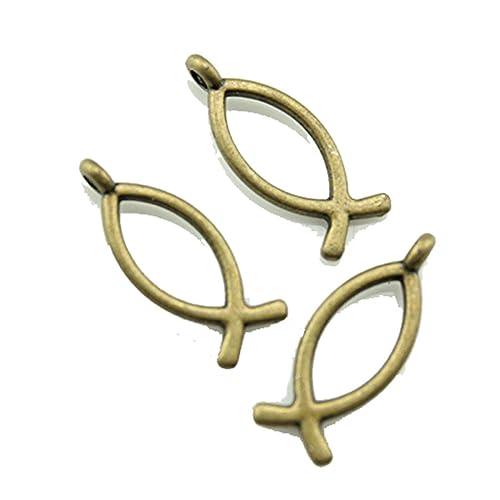 30 Stück 20 ¡á8 mm Antik Bronze Farbe Jesus Fisch charmsantique ...
