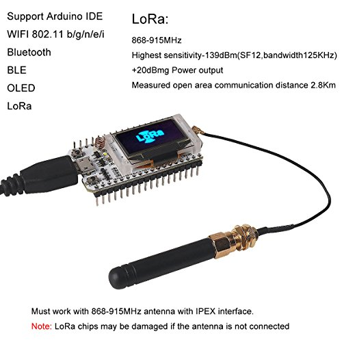 MakerFocus ESP32 Development Board WIFI Bluetooth LoRa Dual Core 240MHz CP2102 with 0.96inch OLED Display and 868/915MHZ Antenna for Arduino by MakerFocus (Image #1)