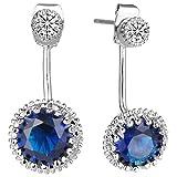 EleQueen Women's Silver-tone Full Cubic Zirconia 2 in 1 Bridal Ear Jacket Stud Earrings Sapphire Color