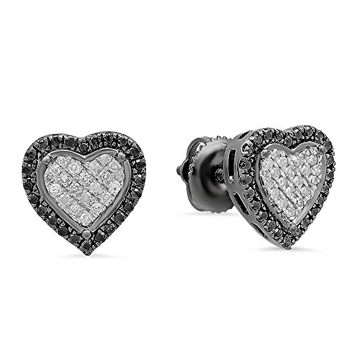 Dazzlingrock Collection 0.35 Carat (ctw) Black Plated Black & White Diamond Heart Shape Stud Earrings 1/3 CT, Sterling Silver (Sterling Silver Earring Jackets For Diamond Studs)