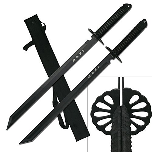 "Hunting Knife Sharpeners Large Full Tang 28"" Ninja Twin Tanto Blade Sword Machete W/nylon Sheath (2 Pcs)"