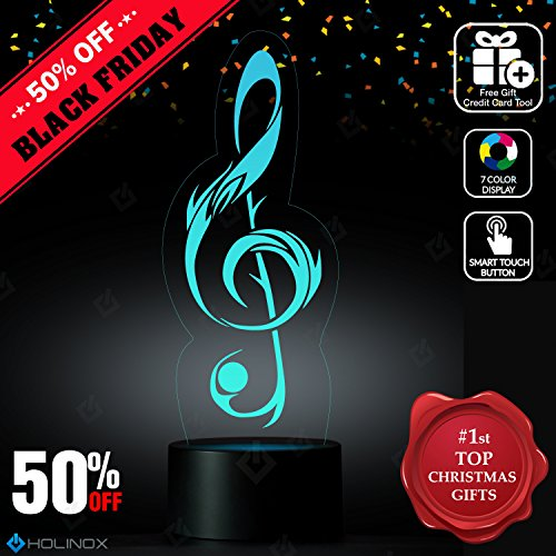 Sol Key G-Clef Lighting Decor Gadget Lamp + Sticker Decor for Perfect Set, Awesome Gift (Academy Desk Lamp)