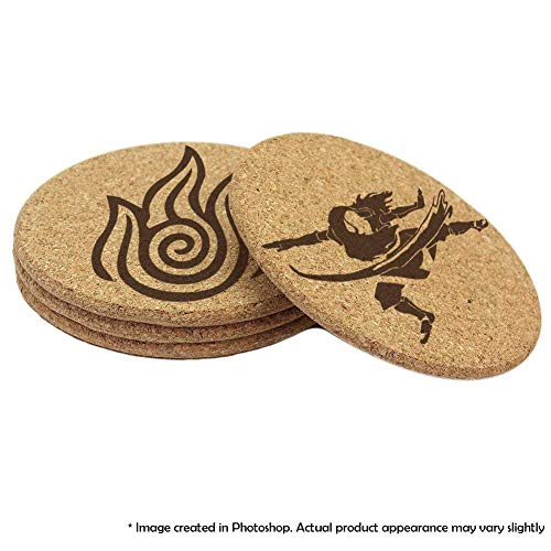 (Avatar: The Last Airbender 4 Coaster Set Earth, Water, Air, Fire Elements and benders (Double Sided))