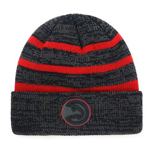 OTS NBA Men's Black Line Cuff Knit Cap, One Size (Atlanta Hawks Fitted Cap)