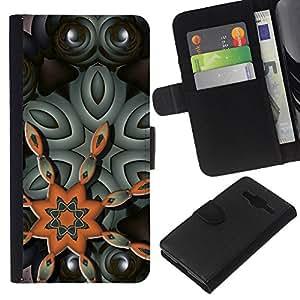 All Phone Most Case / Oferta Especial Cáscara Funda de cuero Monedero Cubierta de proteccion Caso / Wallet Case for Samsung Galaxy Core Prime // Star Orange Gray Eyes Pattern