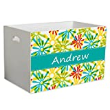 Personalized Starburst Childrens Nursery White Open Toy Box