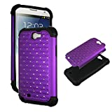 Purple Rhinestone Samsung Galaxy Note 2, II N7100, T889 Hybird High Impact Shock Defender Plastic Outside with Soft Silicone Inside Drop Defender Snap-on Cover Case