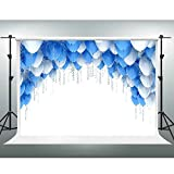 GESEN 10X7ft Theme Party Backdrop Simple Style Blue and White Ribbon Balloons Backdrop for Photographers Wedding Photos Party Children Photography Background SEN086