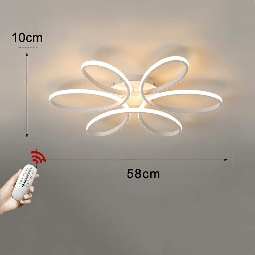 52W LED Deckenleuchte 6000K Dimmbar mit Fernbedienung 3000K Acryl Lampenschirm und wei/ße Aluminium Deckenleuchten f/ür Wohnzimmer Schlafzimmer Kreative Blumenform Deckenlampe L58cm * H10cm
