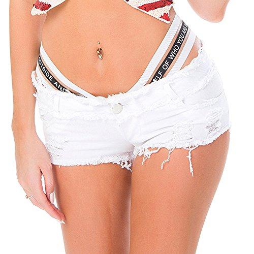 Cresay Women's Sexy Cut Off Denim Jeans Shorts Mini Hot Pants Clubwear-White-L