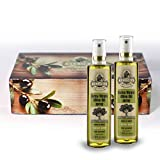 Ellora Farms | GIFT BOX SET | 100% Pure and Traceable | Extra Virgin Olive Oil in Spray Bottle Gift Pack | Hand Crafted Wooden Box | Born in Greece | 3.38oz.X 2