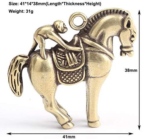 Copper Monkey Horse Statue Chinese Feng Shui Ornaments Bring Lucky Wealth Power Brass Home Decorations Car Key Chains Pendants