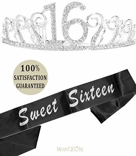 16th Birthday Tiara and Sash, Happy 16th Birthday Party Supplies, Sweet Sixteen Black Glitter Satin Sash and Crystal Tiara Birthday Crown for 16th Birthday Party Supplies and Decorations (Silver)