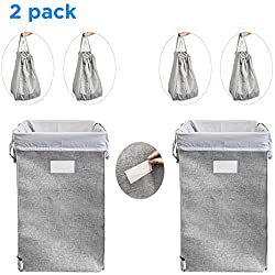 MCleanPin 2pack Collapsible Laundry Hamper with 4 Removeable Laundry Bags & Sorting Card, Clothes Hamper Large Size, Foldable Hamper Dorm Room Storage for College and Laundry Room, Hamper for Laundry