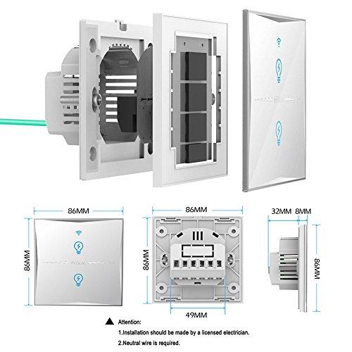 Smart Lichtschalter, WIFI Lichtschalter, gehärtetem Glas Touchscreen ...