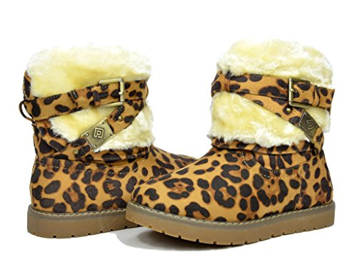 Dream Pairs KAILEY Girls Winter Fully Fur Lining - Leopard Boots With Fur
