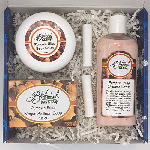 Pumpkin Bliss Bath and Body Gift Set, Spa Kit, Gifts Under 50, Hand Made Gift Set