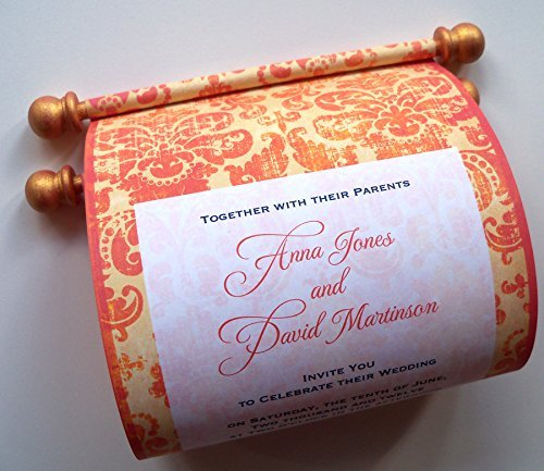 Wedding Invitation Scrolls in Tangerine and Navy, with Vintage Damask, Customized, 5