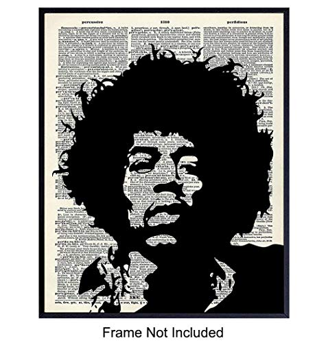 Jimi Hendrix Upcycled Dictionary Wall Art Print - Vintage 8x10 Unframed Photo- Perfect Gift for Rock n Roll 60s Music, Woodstock Fans and Guitar Players, Cool Home Decor