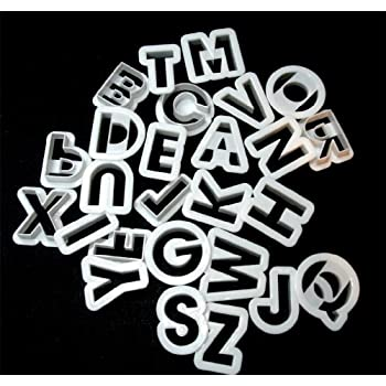 "White Plastic Alphabet Cookie Cutters 1 1/2"" tall"