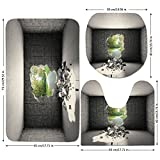 3 Piece Bathroom Mat Set,Grey,Concrete-Room-with-a-Hole-in-the-Wall-and-Exit-to-Freedom-Escape-Destruction-Theme,Grey-Green.jpg,Bath Mat,Bathroom Carpet Rug,Non-Slip