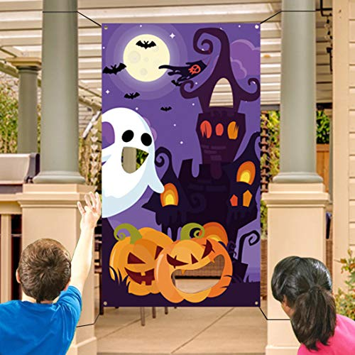 Halloween Bean Bag Toss Games+3 Bean Bags for Kids/Childrens/Family Party, Halloween Night Theme Indoor/Outdoor Parties Supplies Decoration Pumpkin Castle Ghost Bat Moon Toss Game Banner for Teens ()