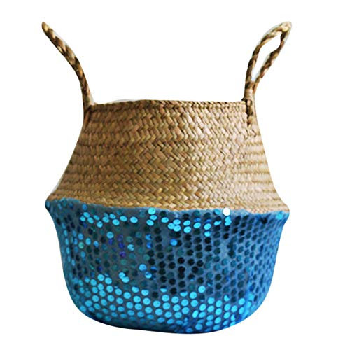 Sunshinehomely Seagrass Wicker Flower Pot Folding Dirty Basket Woven Flowerpot Multi-use Arts and Crafts Storage Decoration (Blue) from Sunshinehomely-Decor