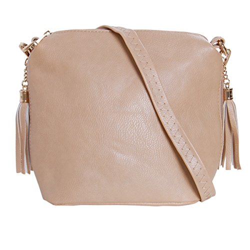 Tan Leather Mini Womens (Humble Chic Mini Tassel Cross Body Bag - Small Vegan Leather Zipper Crossbody Handbag Shoulder Purse, Tan - Side Zip, Beige, Nude, Light Brown, Gold-Tone)