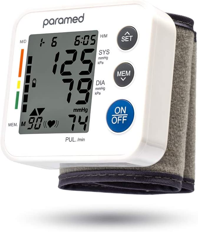 PARAMED Blood Pressure Monitor Wrist Cuff - Automatic Digital Bp Machine with Irregular Heartbeat Detector - Memory Function 90 Readings, Carry Case and Batteries Included
