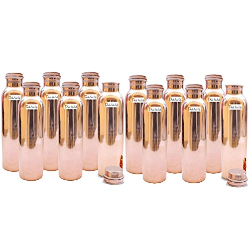 900ml / 30oz - Set of 12 - Prisha India Craft ® Pure Copper Water Bottle for Health Benefits - Water Bottles | Joint Free, Handmade - Christmas Gift by Prisha India Craft (Image #5)'