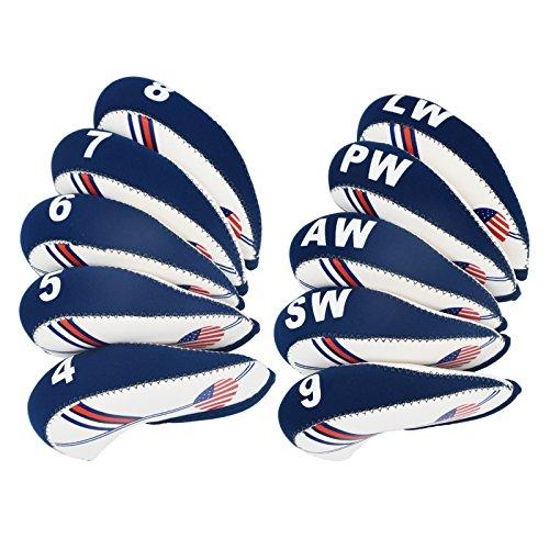 あなたが良くなります断片レイアウト(10 pcs, white+blue) - BettGolf Golf Club Head Cover Wedge Iron Protective Headcover with Golf White & Blue US Flag Neoprene