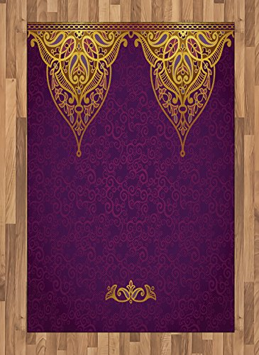 Ambesonne Purple Area Rug, East Oriental Royal Palace Patterns with Bohemian Style Art Traditional Wedding, Flat Woven Accent Rug for Living Room Bedroom Dining Room, 4 X 5.7 FT, Purple Yellow