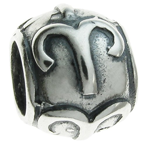 Queenberry Sterling Silver Zodiac Aries European Style Bead Charm