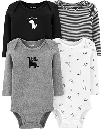 Carter's Baby 4 Pack Long Sleeve Bodysuit Set, Babysaurus, 3 Months