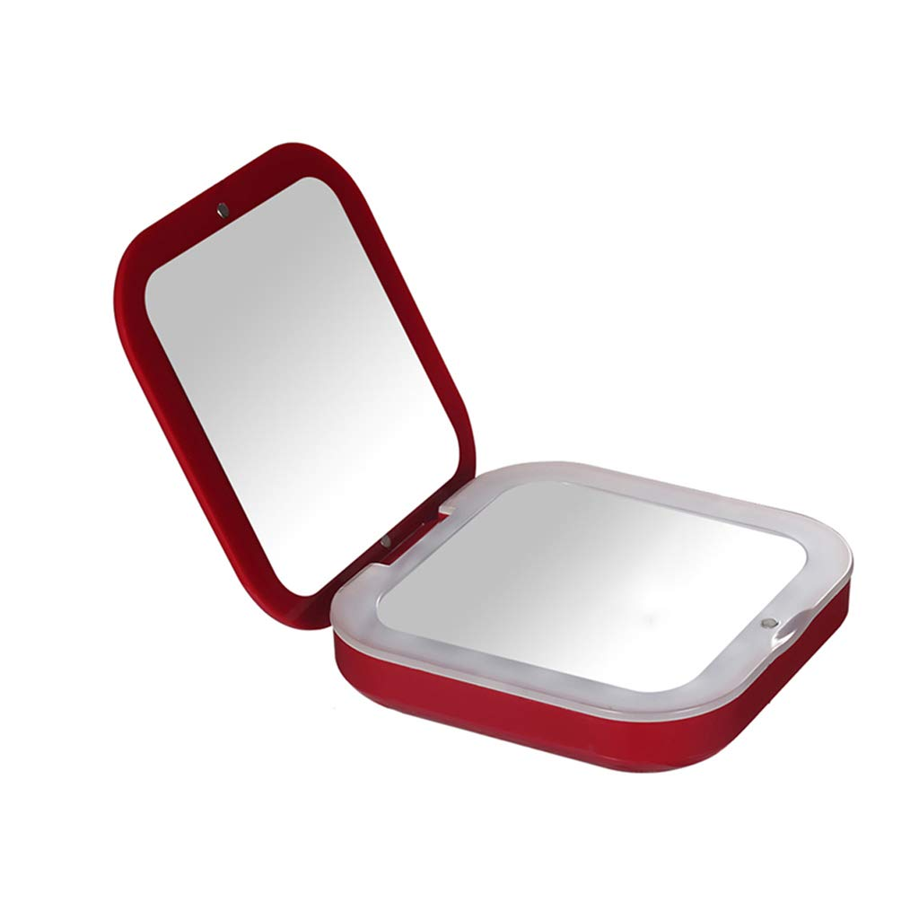 Portable Small Mirror with LED Fill Light Pocket Travel Folding Mirror Charger
