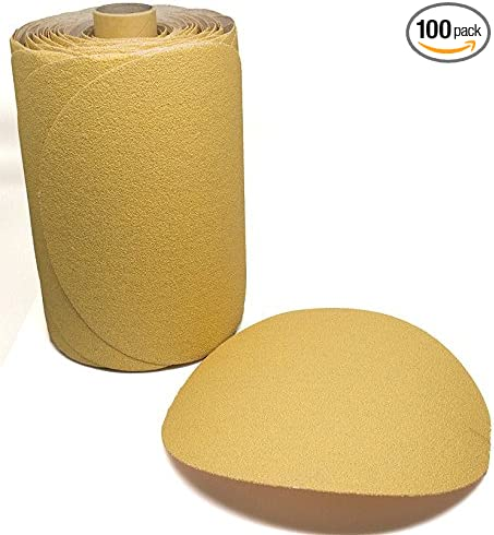 180 Grit 5 Inch Discs On a Roll PSA Gold Sticky Back DA Sanding Paper 100 Pack