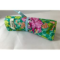 Travel Jewelry Roll Organizer - Amy Butler Violette Field Poppy in Rose