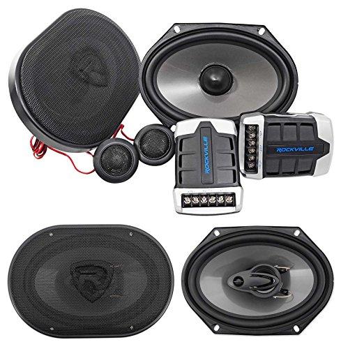 Pair Rockville RV68.2C 6x8 / 5x7 Component Speakers+6x8 Coaxial 3-Way Speakers (Best 5x7 Component Speakers)