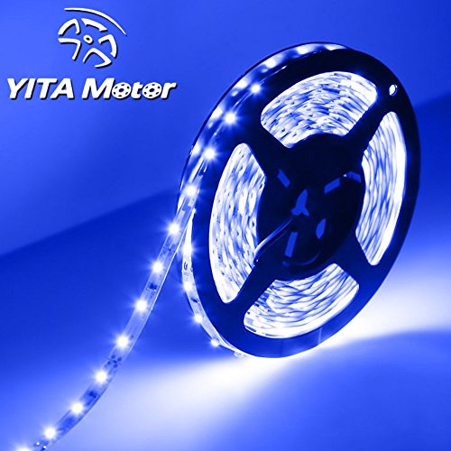 YITAMOTOR Blue LED Waterproof Flexible Strip Light, T93007-1 , 25 watt, 300 Leds 3528 SMD, 12 volt, 16.4 feet Flexible LED Light Strip (25 Led Lamp)