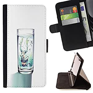 - Queen Pattern FOR Samsung Galaxy S4 IV I9500 /La identificaci????n del cr????dito ranuras para tarjetas tir????n de la caja Cartera de cuero cubie - glass water clean diet minim