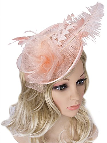 Vijiv Women Vintage Derby Fascinator Hat Pillbox Headband Feather Cocktail Tea Party (Womens Hats From The 1920s)