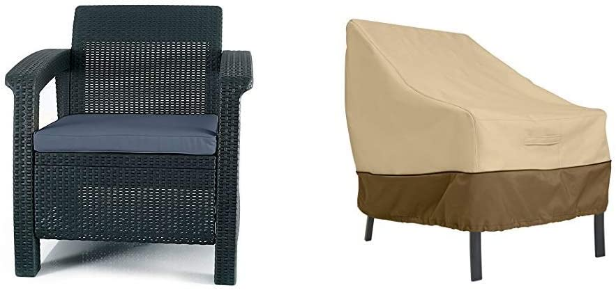 Keter Corfu Armchair All Weather Outdoor Patio Garden Furniture Cushions, Charcoal with Classic Accessories Veranda Patio Lounge/Club Chair Cover -Medium