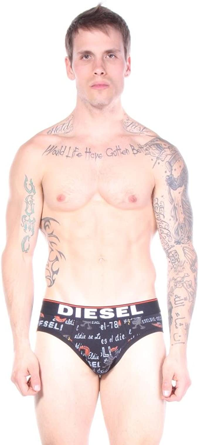 Diesel Mens Andre Messages in A Boxer Cotton Stretch Brief