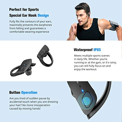 Wireless Earbuds, HolyHigh Bluetooth Earbuds 5.0 ET1 Wireless Headphones IPX7 Waterproof Sport Earbuds with Earhooks Stereo Sound Earphones in Ear for Running Workout Gym(Black) 51 2Bq gvSNRL