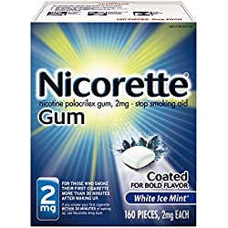 Nicorette Nicotine Gum White Ice Mint 2 milligram Stop Smoking Aid 160 count