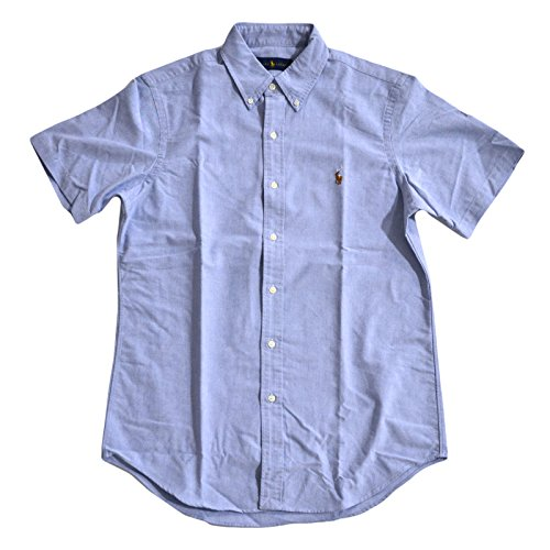 Polo Ralph Lauren Mens Short Sleeve Oxford Buttondown (Large, Blue)